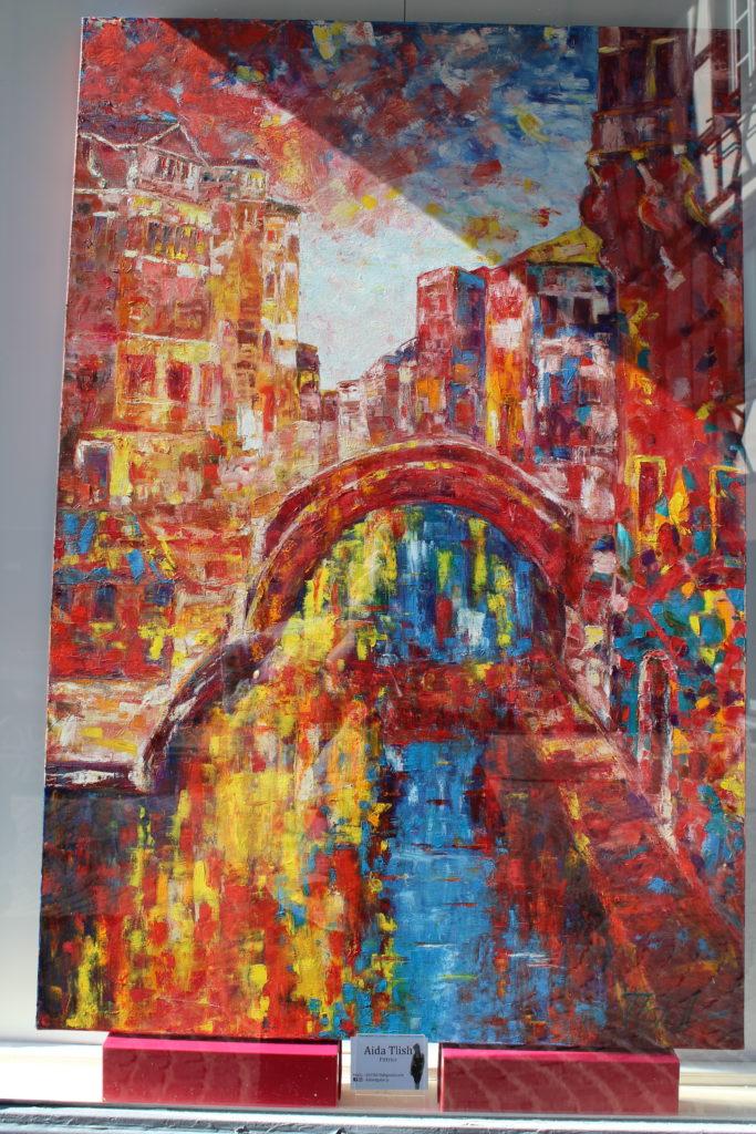 A photo of a painting by Aida Tlish, titled Venezia con cuor di leonessa.