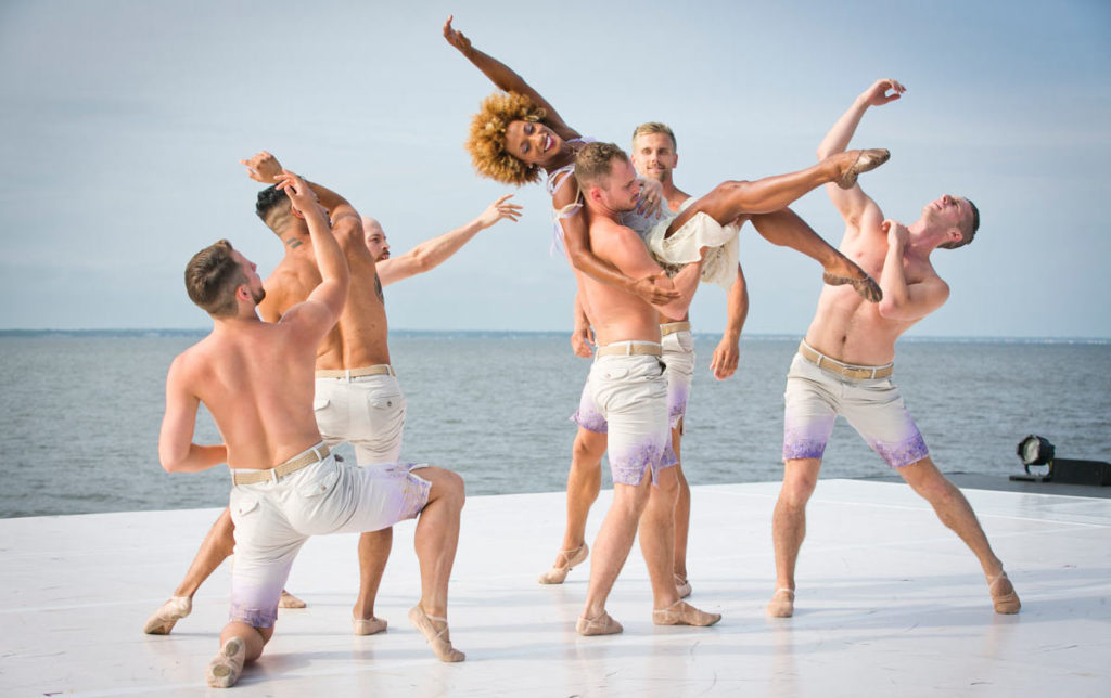 A photo still from the performance of Rise, choreographed by Charlie Williams
