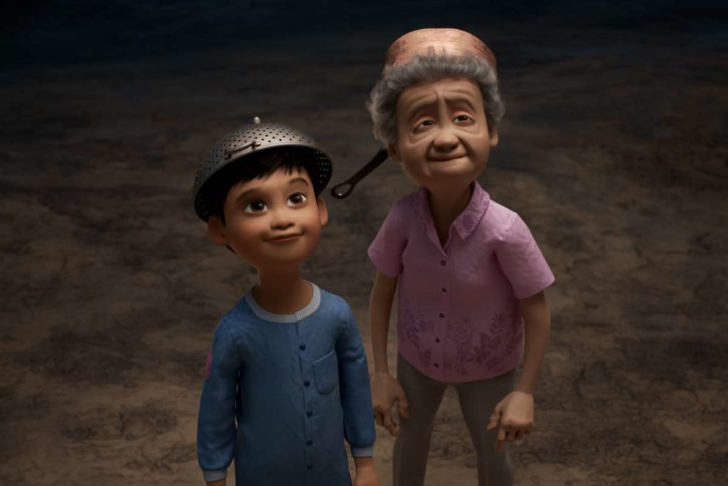 A photo still of a boy and his grandmother from the short film Wind.