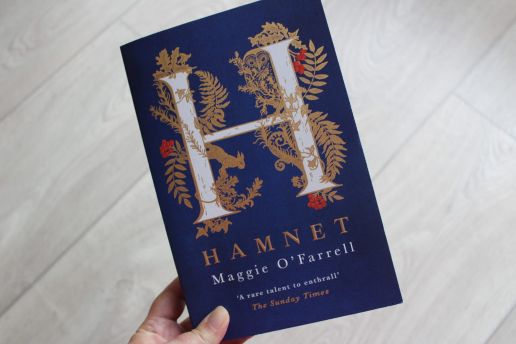 A close up photo of the cover of Hamnet by Maggie O'Farrell