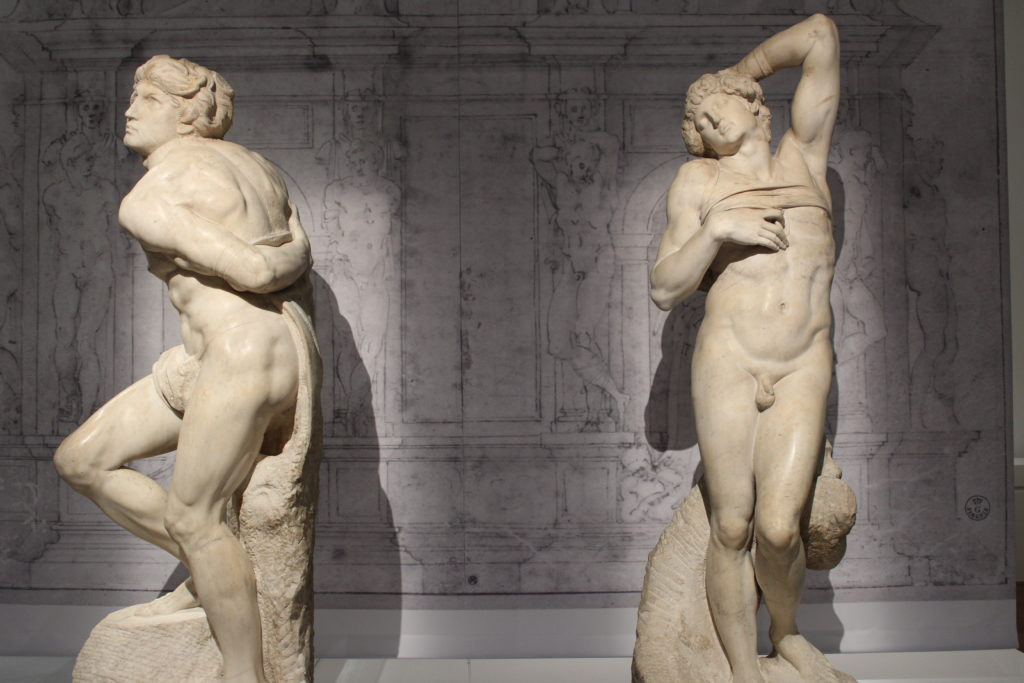 A photo of Dying Slave and Rebellious Slave by Michelangelo.