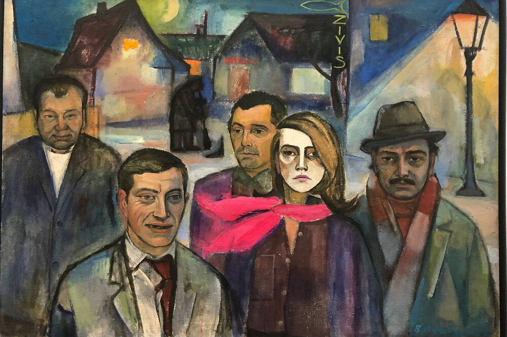 An image of the painting Group Portrait by Biruta Baumane. Five people, four men and one woman, are standing in a street at night, looking directly at the viewer.